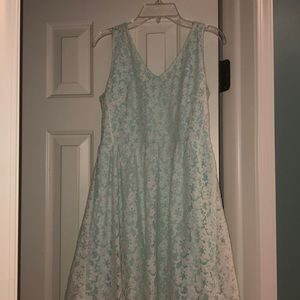 Lush Green with White Lace Dress
